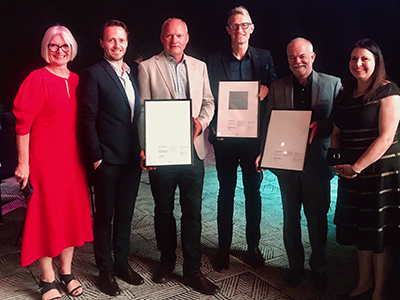 UniSA's Jane Lawrence, Joti Weijers-Coghlan, David Morris and (far right) Christina Coleiro with Wayne Grivell and Andrew Phillips from Swanbury Penglase at the 2019 Australian Institute of Architects National Architecture Awards.