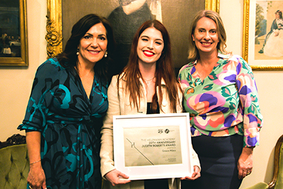Helpmann Academy CEO Jane MacFarlane, Grace Miles and UniSA Pro Vice Chancellor for Education, Arts and Social Sciences Professor Joanne Cys. Photo by Georgia Matthews.