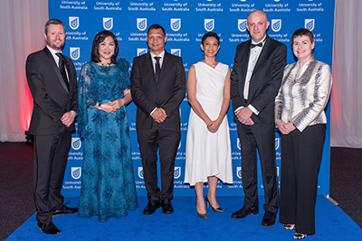 UniSA Vice Chancellor Professor David Lloyd (left) and Chancellor Pauline Carr (right) with UniSA Alumni Awards winners Dr Pauline Wong, Darren Siwes, Tirana Hassan and Michael Burgess.