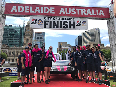 Priscilla and the team at the finish line.