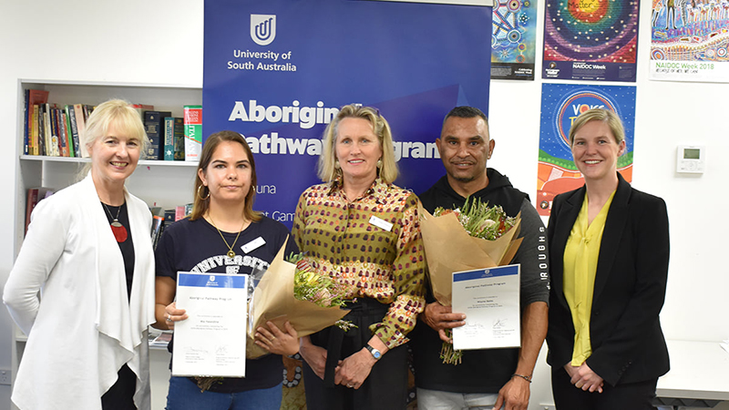 Pictured (from left) are Head of UniSA College Sharron King, Mia Haseldine, Regional Tutor Barbie Clutterbuck, Wayne Betts and Program Director Tanya Weiler.