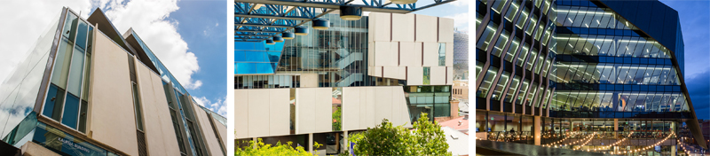UniSA's Kaurna, Hawke and Jeffrey Smart buildings.