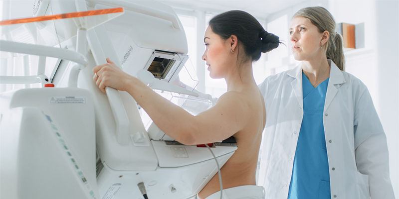 Woman having a mamogram